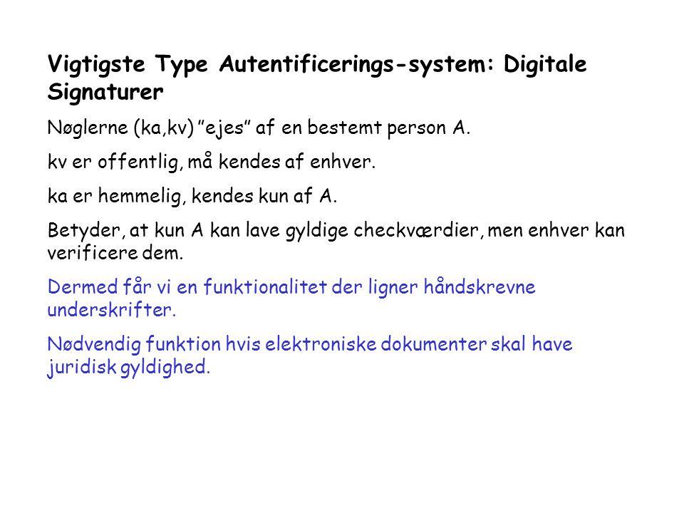 Vigtigste Type Autentificerings-system: Digitale Signaturer Nøglerne (ka,kv) ejes af en bestemt person A.