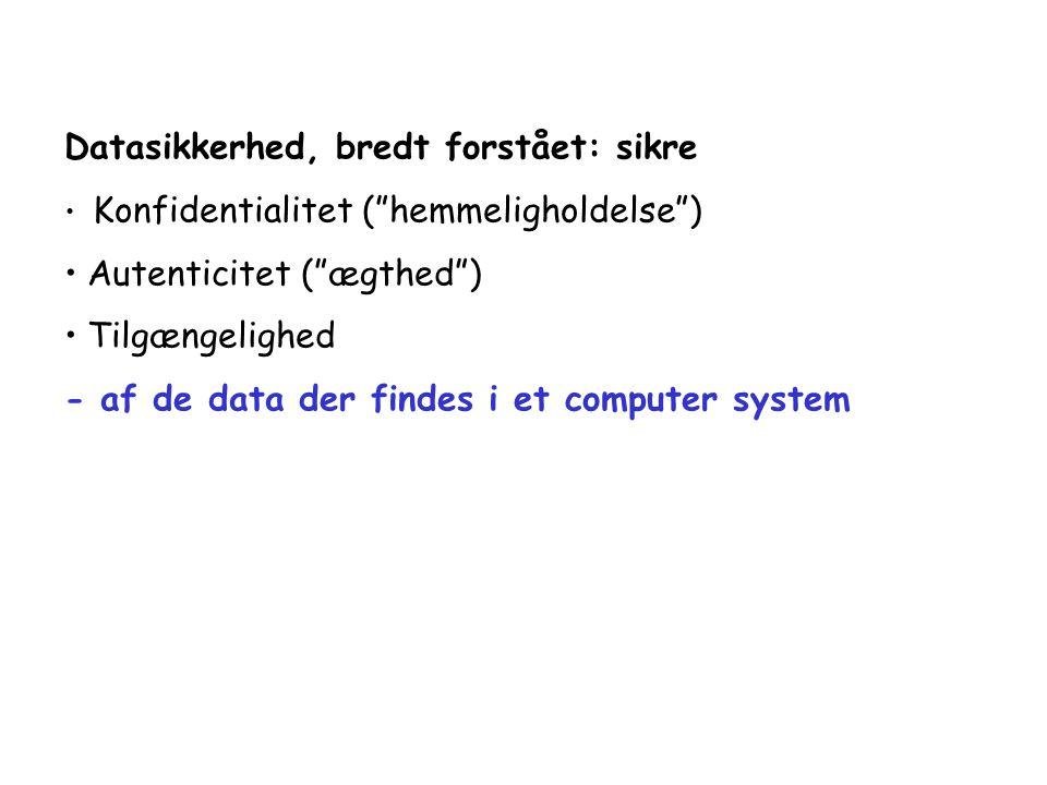 Datasikkerhed, bredt forstået: sikre Konfidentialitet ( hemmeligholdelse ) Autenticitet ( ægthed ) Tilgængelighed - af de data der findes i et computer system