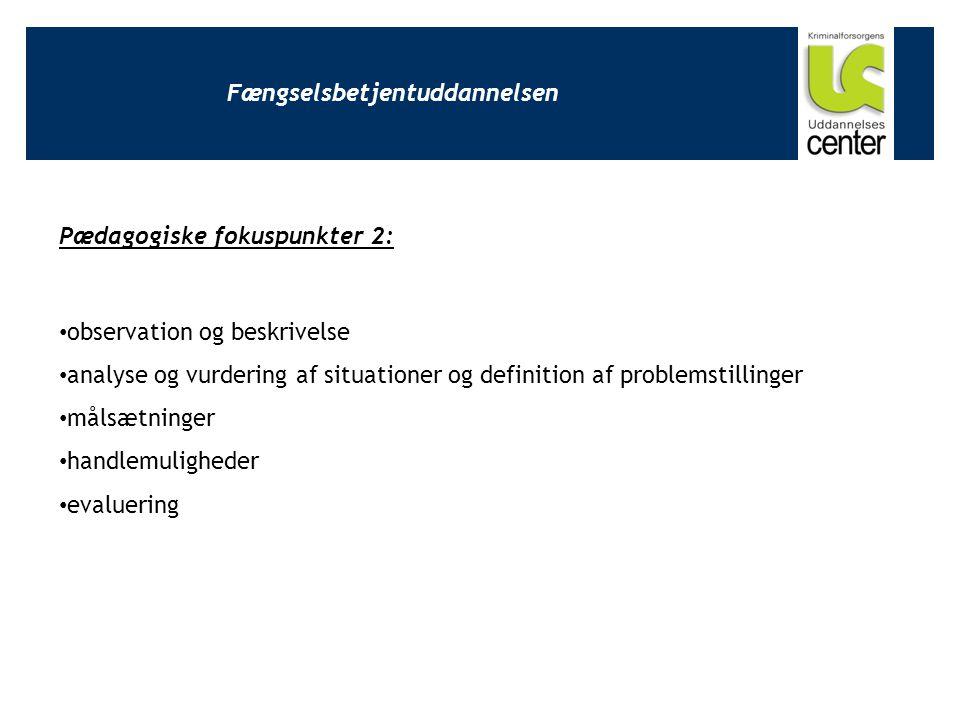 Fængselsbetjentuddannelsen Pædagogiske fokuspunkter 2: observation og beskrivelse analyse og vurdering af situationer og definition af problemstillinger målsætninger handlemuligheder evaluering