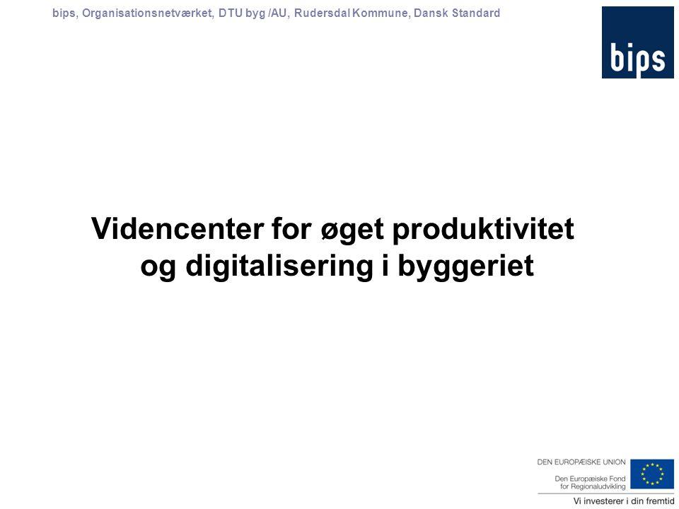 bips, Organisationsnetværket, DTU byg /AU, Rudersdal Kommune, Dansk Standard Videncenter for øget produktivitet og digitalisering i byggeriet