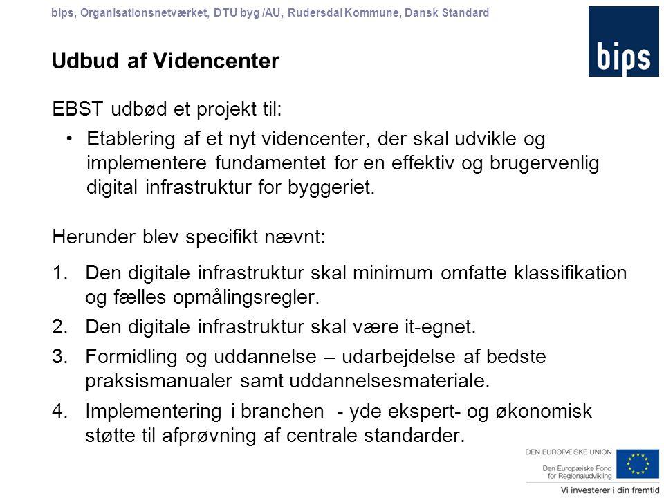 bips, Organisationsnetværket, DTU byg /AU, Rudersdal Kommune, Dansk Standard Udbud af Videncenter EBST udbød et projekt til: Etablering af et nyt videncenter, der skal udvikle og implementere fundamentet for en effektiv og brugervenlig digital infrastruktur for byggeriet.