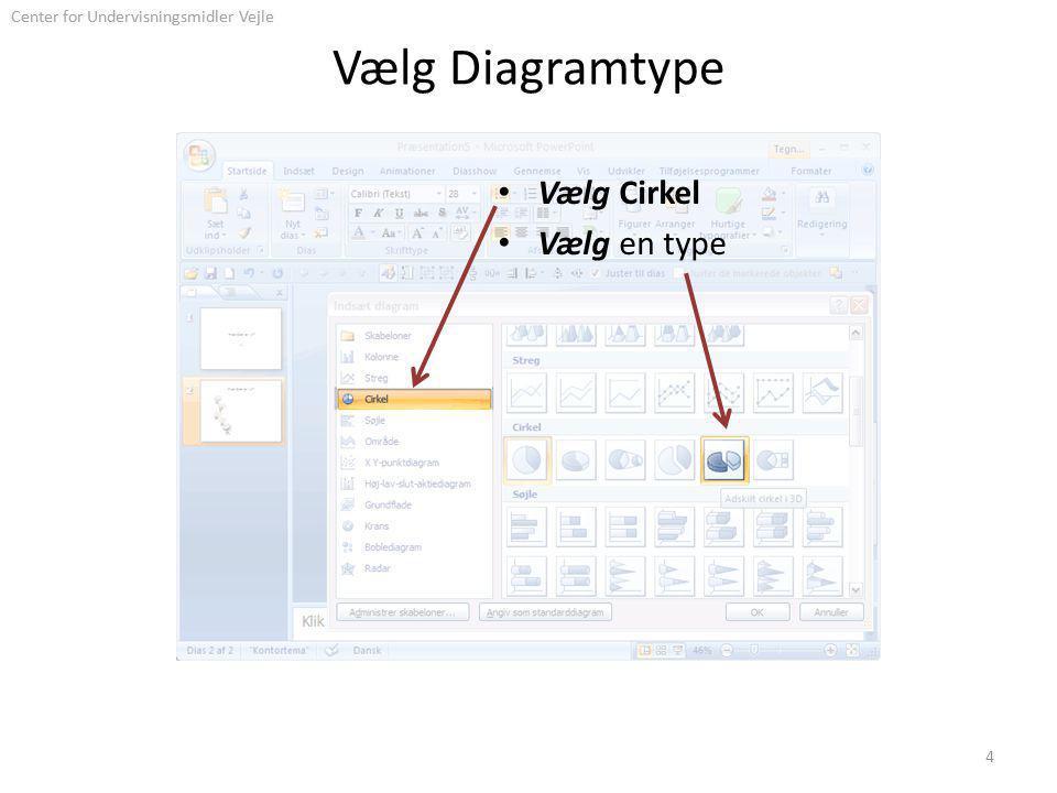 Center for Undervisningsmidler Vejle Vælg Diagramtype Vælg Cirkel Vælg en type 4