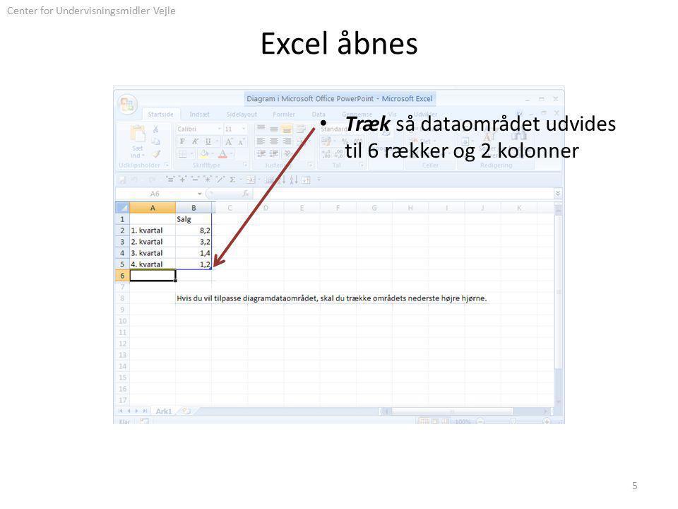 Center for Undervisningsmidler Vejle Excel åbnes Træk så dataområdet udvides til 6 rækker og 2 kolonner 5