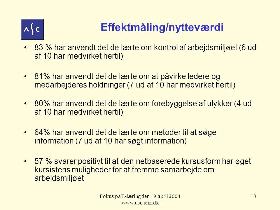 Fokus på E-læring den 19.april 2004 www.asc.amr.dk 13 Effektmåling/nytteværdi 83 % har anvendt det de lærte om kontrol af arbejdsmiljøet (6 ud af 10 har medvirket hertil) 81% har anvendt det de lærte om at påvirke ledere og medarbejderes holdninger (7 ud af 10 har medvirket hertil) 80% har anvendt det de lærte om forebyggelse af ulykker (4 ud af 10 har medvirket hertil) 64% har anvendt det de lærte om metoder til at søge information (7 ud af 10 har søgt information) 57 % svarer positivt til at den netbaserede kursusform har øget kursistens muligheder for at fremme samarbejde om arbejdsmiljøet