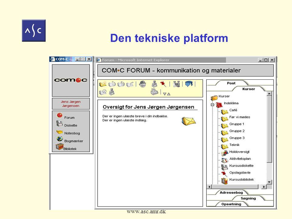 Fokus på E-læring den 19.april 2004 www.asc.amr.dk 9 Den tekniske platform