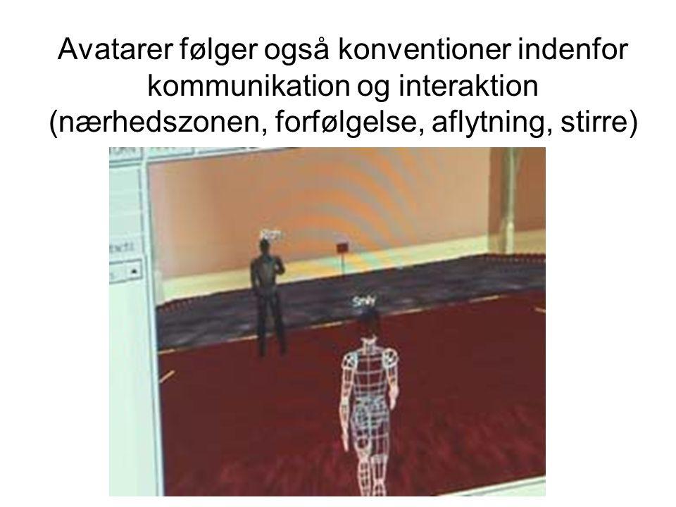 Avatarer følger også konventioner indenfor kommunikation og interaktion (nærhedszonen, forfølgelse, aflytning, stirre)