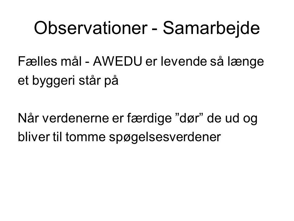Observationer - Samarbejde Fælles mål - AWEDU er levende så længe et byggeri står på Når verdenerne er færdige dør de ud og bliver til tomme spøgelsesverdener