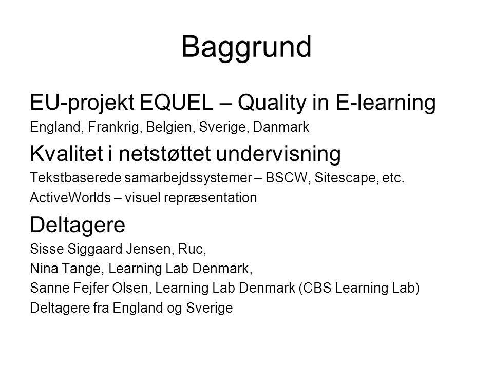 Baggrund EU-projekt EQUEL – Quality in E-learning England, Frankrig, Belgien, Sverige, Danmark Kvalitet i netstøttet undervisning Tekstbaserede samarbejdssystemer – BSCW, Sitescape, etc.