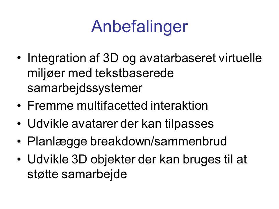 Anbefalinger Integration af 3D og avatarbaseret virtuelle miljøer med tekstbaserede samarbejdssystemer Fremme multifacetted interaktion Udvikle avatarer der kan tilpasses Planlægge breakdown/sammenbrud Udvikle 3D objekter der kan bruges til at støtte samarbejde
