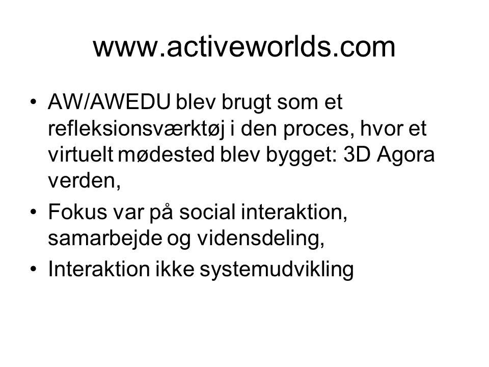 www.activeworlds.com AW/AWEDU blev brugt som et refleksionsværktøj i den proces, hvor et virtuelt mødested blev bygget: 3D Agora verden, Fokus var på social interaktion, samarbejde og vidensdeling, Interaktion ikke systemudvikling