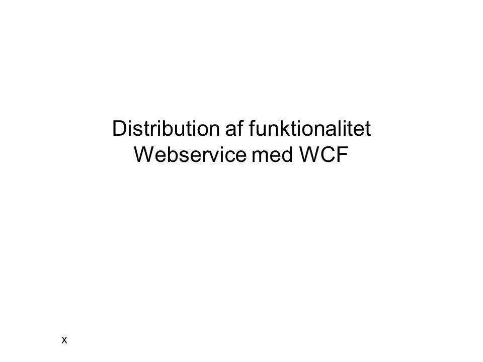 Distribution af funktionalitet Webservice med WCF x