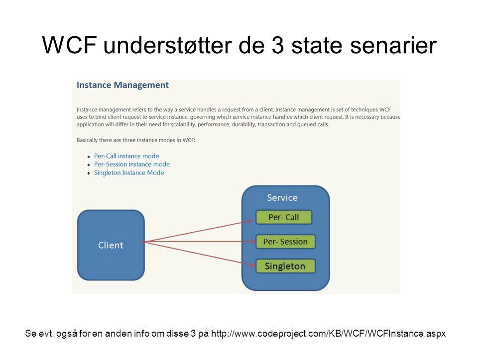 WCF understøtter de 3 state senarier Se evt.