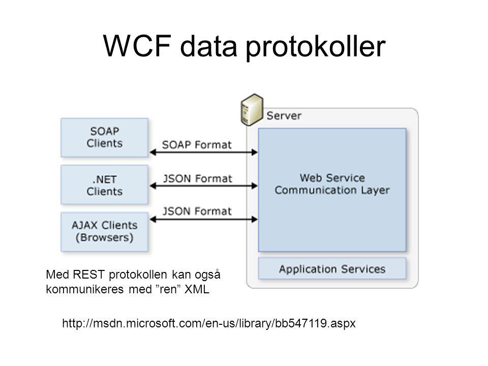 WCF data protokoller http://msdn.microsoft.com/en-us/library/bb547119.aspx Med REST protokollen kan også kommunikeres med ren XML