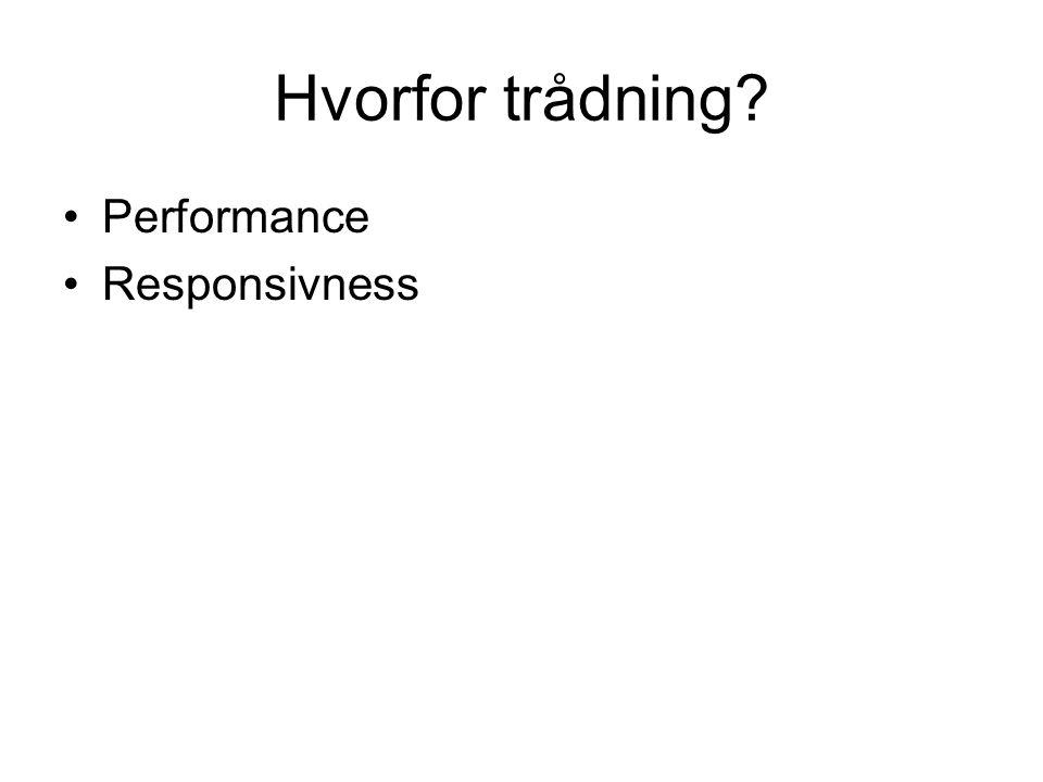 Hvorfor trådning Performance Responsivness