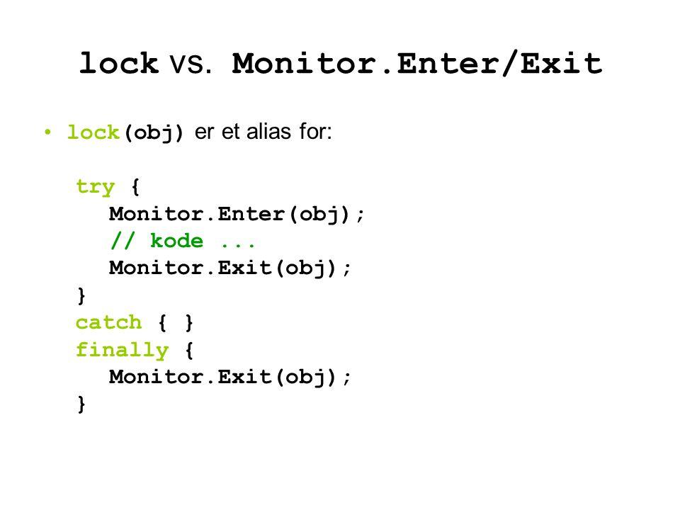 lock vs. Monitor.Enter/Exit lock(obj) er et alias for: try { Monitor.Enter(obj); // kode...