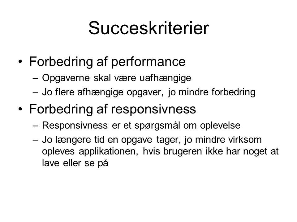Succeskriterier Forbedring af performance –Opgaverne skal være uafhængige –Jo flere afhængige opgaver, jo mindre forbedring Forbedring af responsivness –Responsivness er et spørgsmål om oplevelse –Jo længere tid en opgave tager, jo mindre virksom opleves applikationen, hvis brugeren ikke har noget at lave eller se på