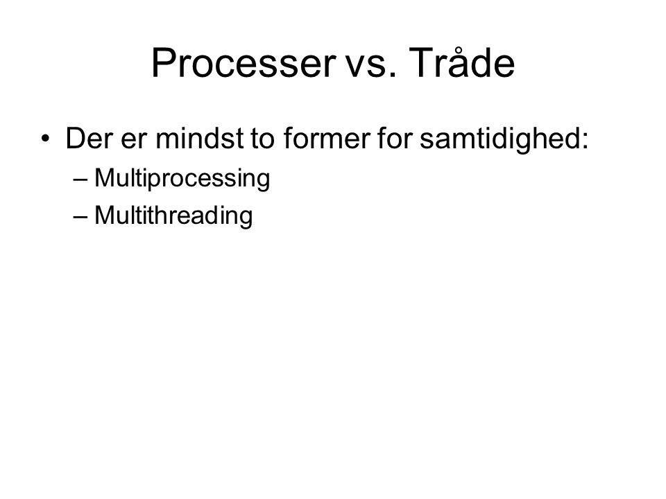 Processer vs. Tråde Der er mindst to former for samtidighed: –Multiprocessing –Multithreading