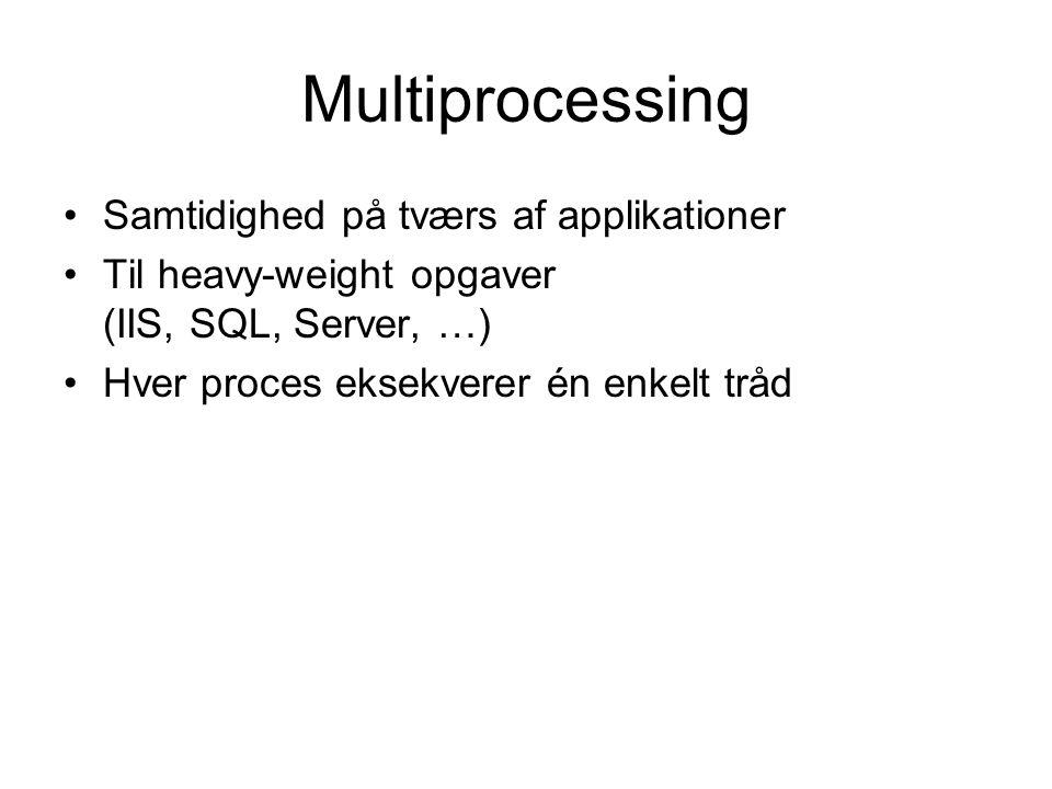 Multiprocessing Samtidighed på tværs af applikationer Til heavy-weight opgaver (IIS, SQL, Server, …) Hver proces eksekverer én enkelt tråd