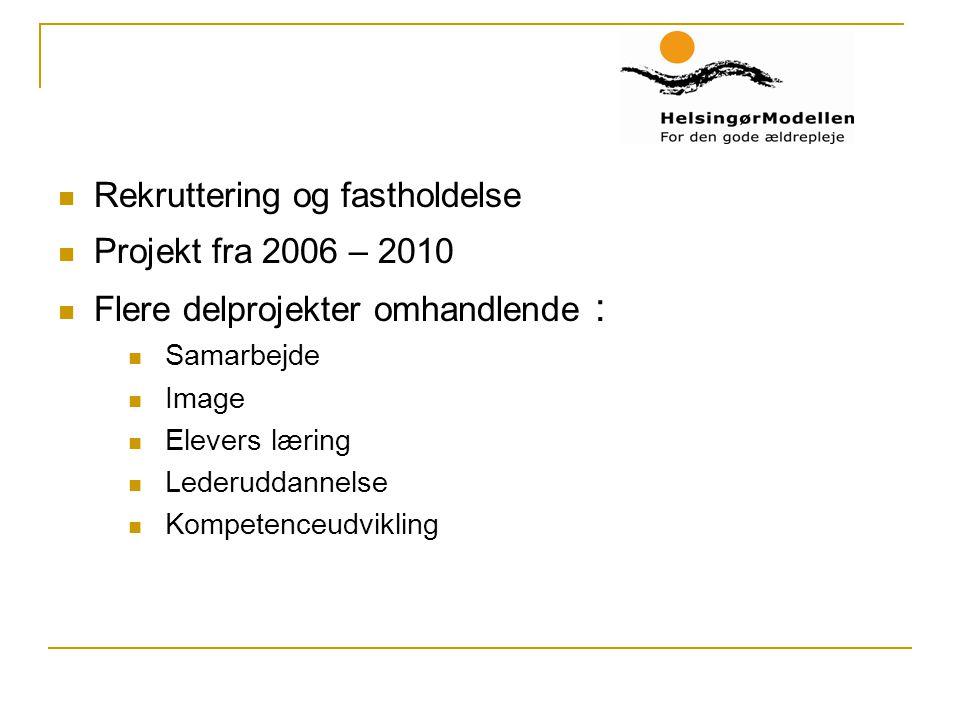 Rekruttering og fastholdelse Projekt fra 2006 – 2010 Flere delprojekter omhandlende : Samarbejde Image Elevers læring Lederuddannelse Kompetenceudvikling
