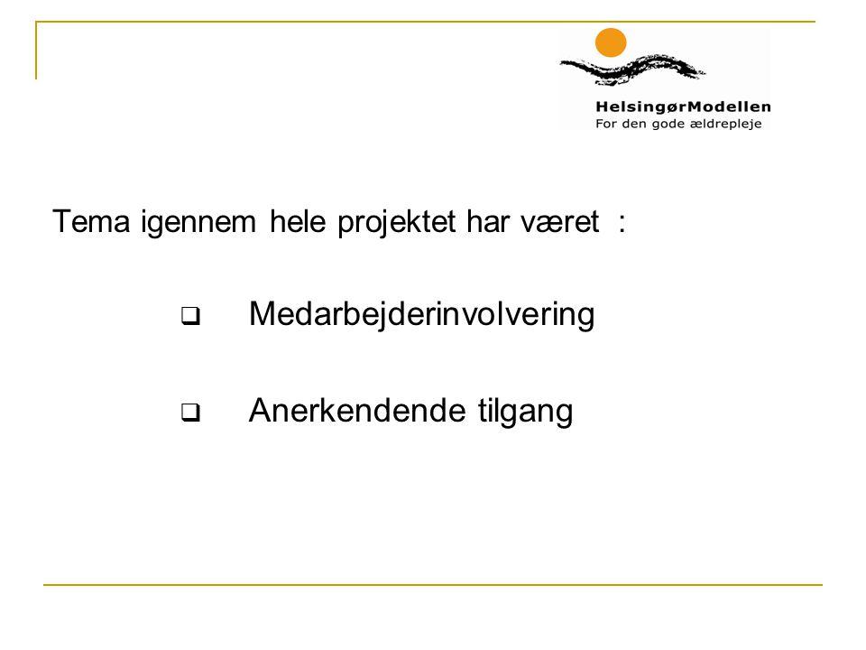 Tema igennem hele projektet har været :  Medarbejderinvolvering  Anerkendende tilgang