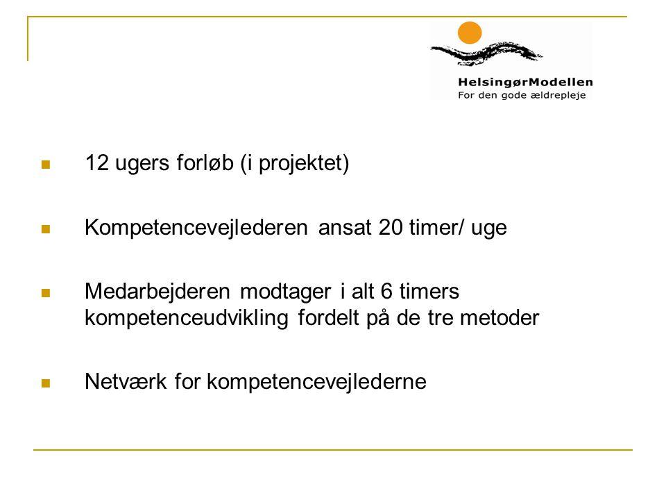 12 ugers forløb (i projektet) Kompetencevejlederen ansat 20 timer/ uge Medarbejderen modtager i alt 6 timers kompetenceudvikling fordelt på de tre metoder Netværk for kompetencevejlederne