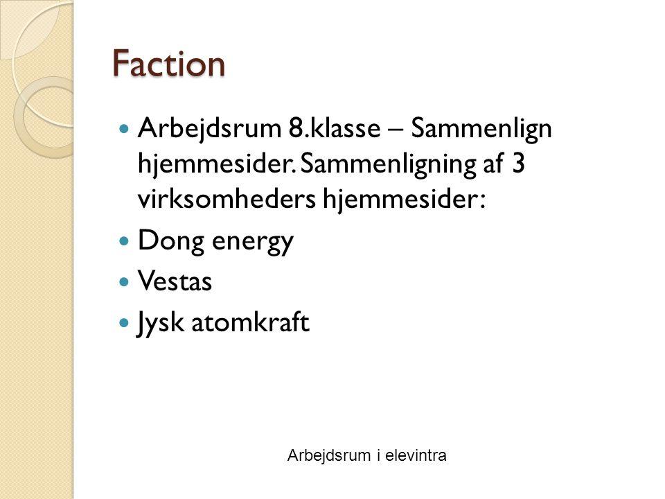 Faction Arbejdsrum 8.klasse – Sammenlign hjemmesider.