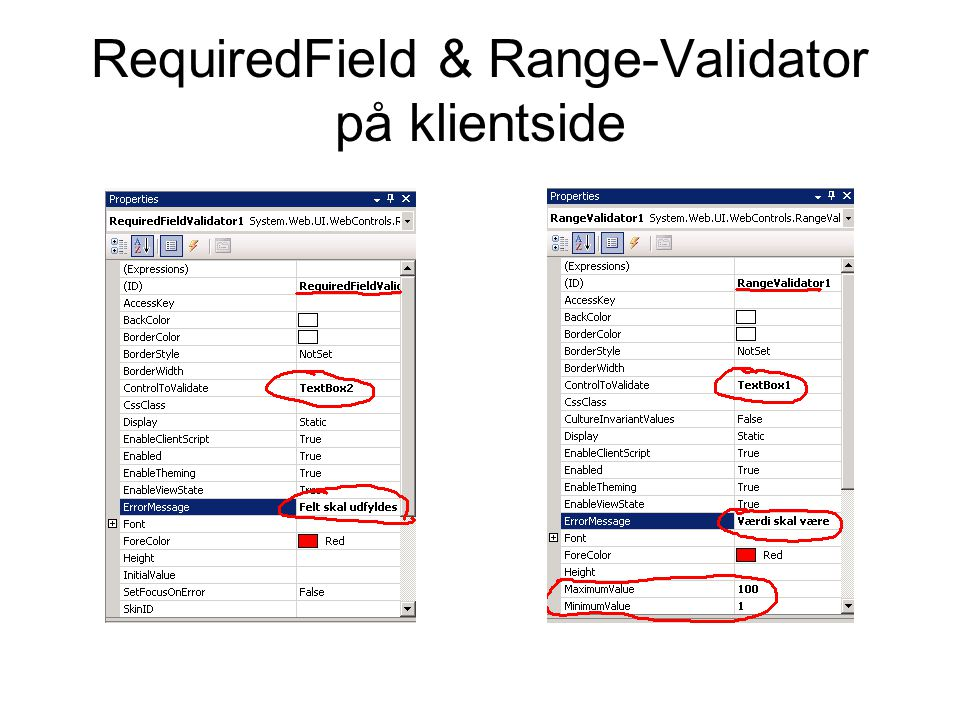 RequiredField & Range-Validator på klientside