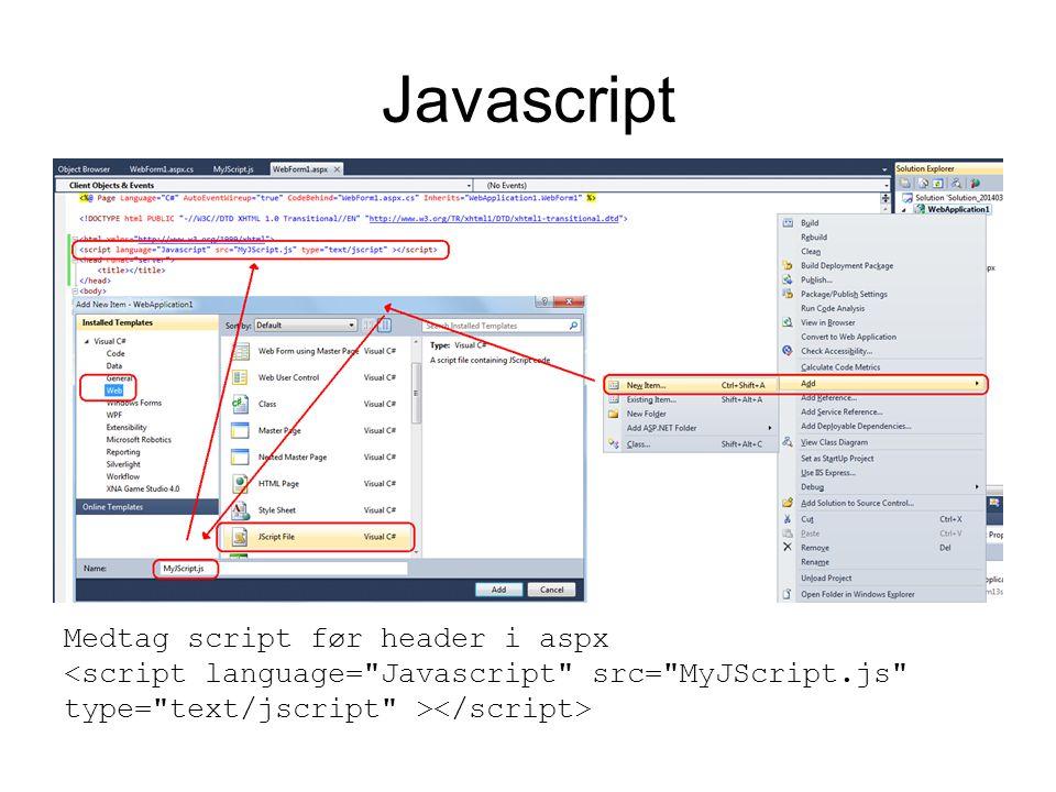 Javascript Medtag script før header i aspx