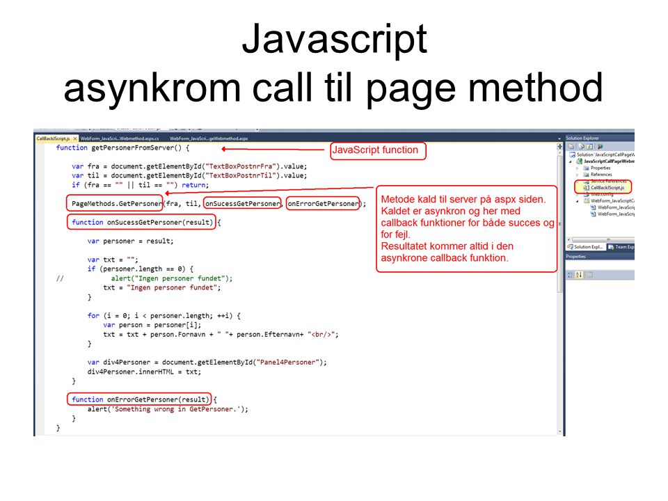 Javascript asynkrom call til page method