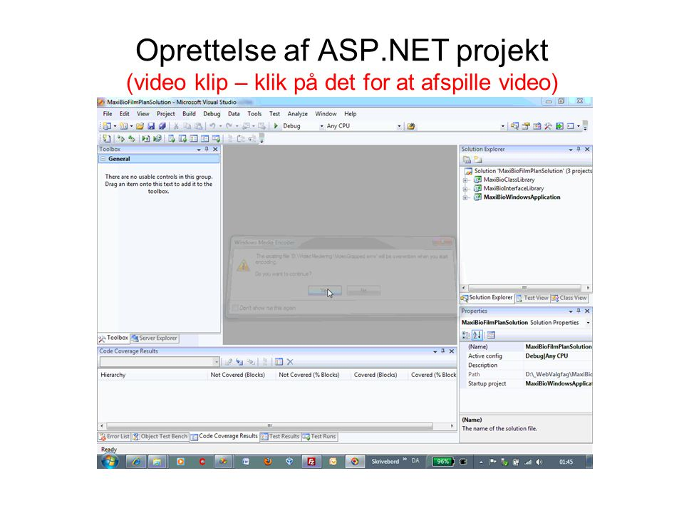 Oprettelse af ASP.NET projekt (video klip – klik på det for at afspille video)