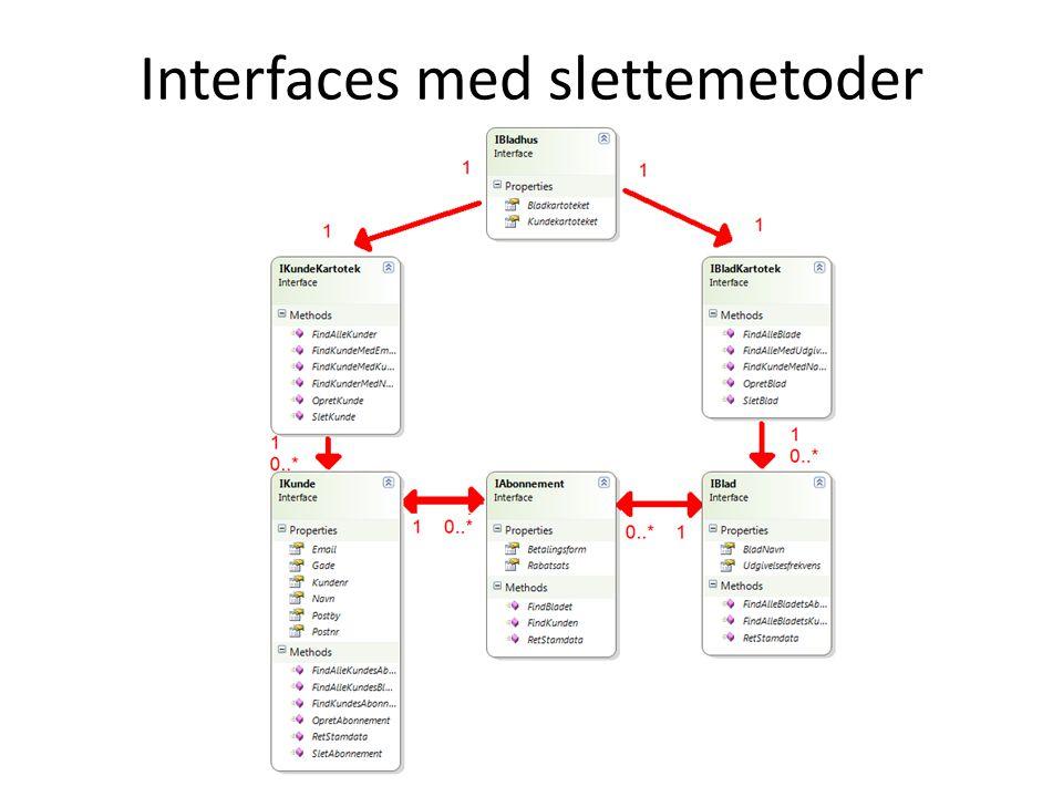 Interfaces med slettemetoder