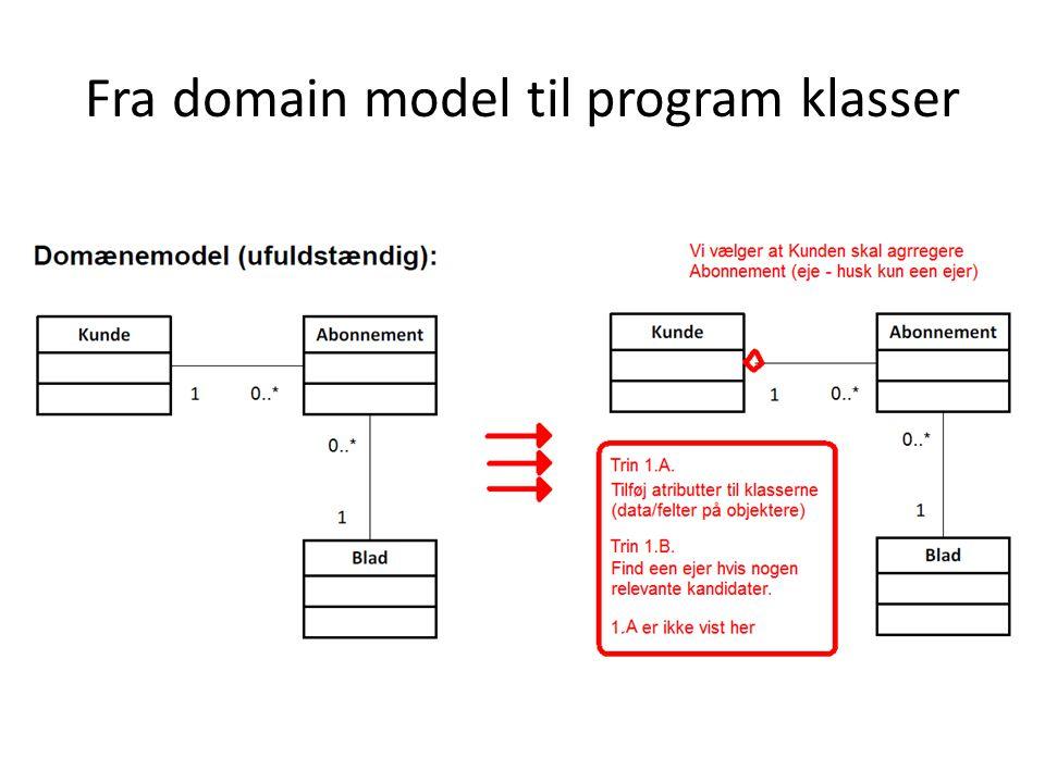Fra domain model til program klasser