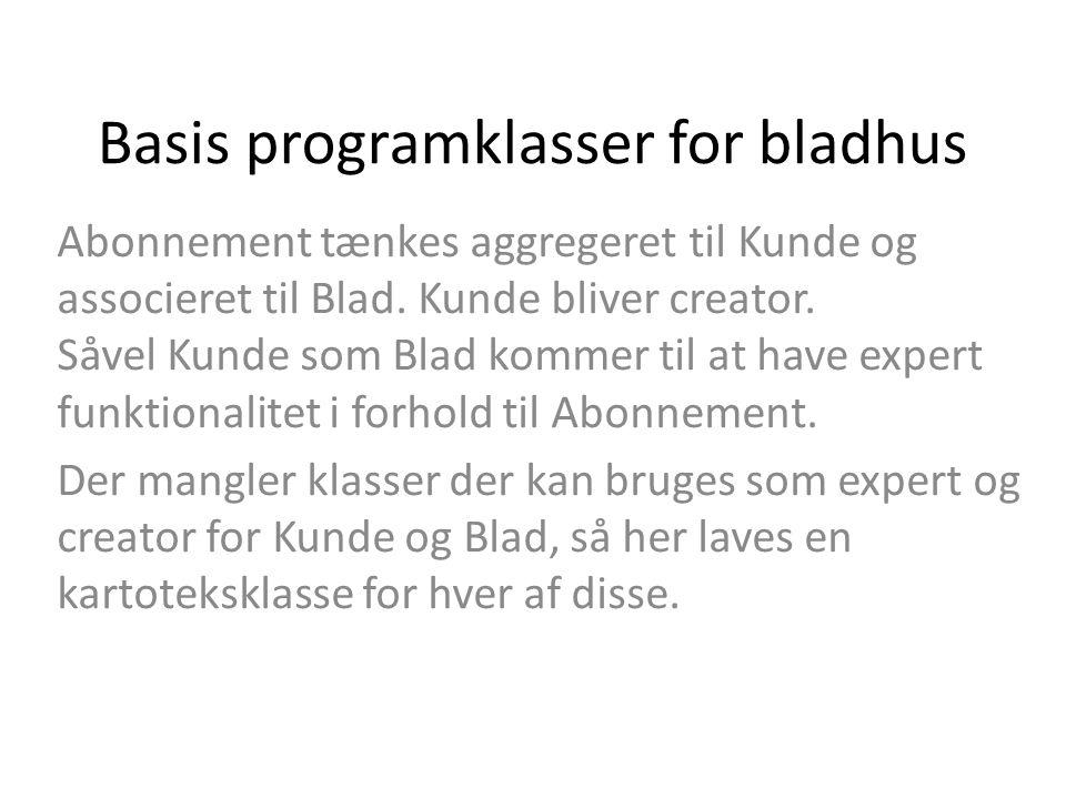 Basis programklasser for bladhus Abonnement tænkes aggregeret til Kunde og associeret til Blad.