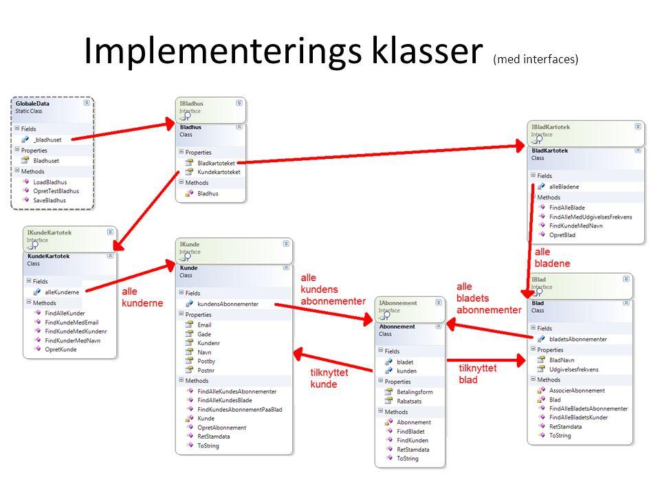 Implementerings klasser (med interfaces)