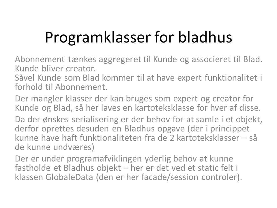 Programklasser for bladhus Abonnement tænkes aggregeret til Kunde og associeret til Blad.