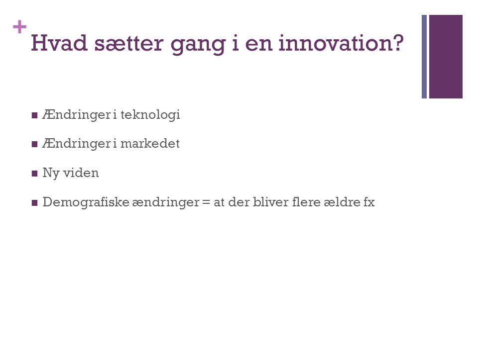 + Hvad sætter gang i en innovation.