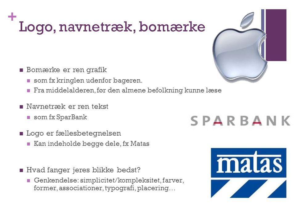 + Logo, navnetræk, bomærke Bomærke er ren grafik som fx kringlen udenfor bageren.