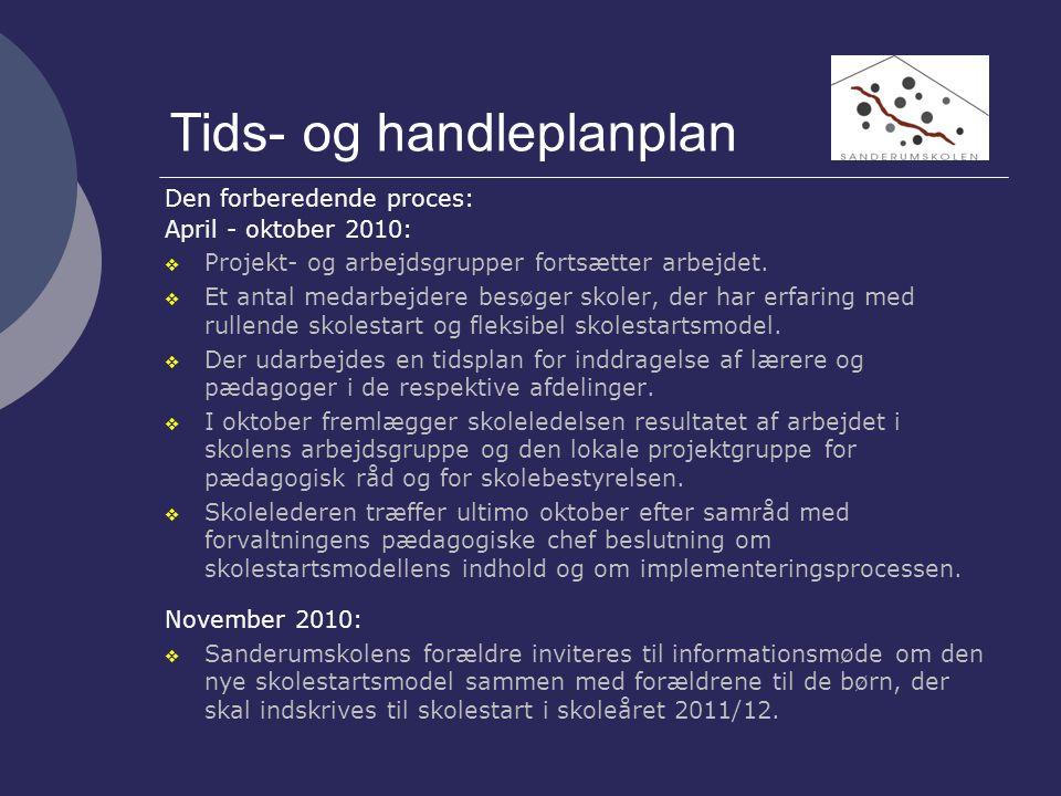 Tids- og handleplanplan Den forberedende proces: April - oktober 2010:  Projekt- og arbejdsgrupper fortsætter arbejdet.