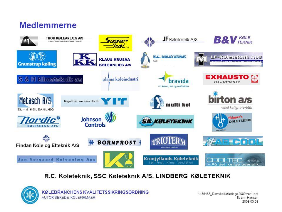 KØLEBRANCHENS KVALITETSSIKRINGSORDNING AUTORISEREDE KØLEFIRMAER 1186463_Danske Køledage 2009 ver1.ppt Svenn Hansen 2009.03.09 Medlemmerne R.C.
