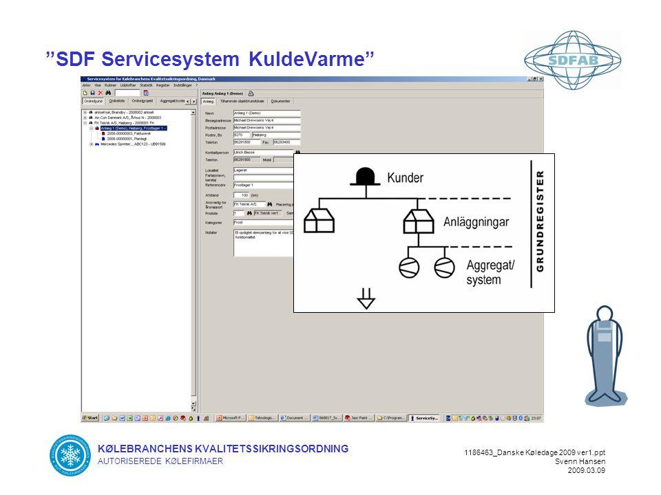 KØLEBRANCHENS KVALITETSSIKRINGSORDNING AUTORISEREDE KØLEFIRMAER 1186463_Danske Køledage 2009 ver1.ppt Svenn Hansen 2009.03.09 SDF Servicesystem KuldeVarme