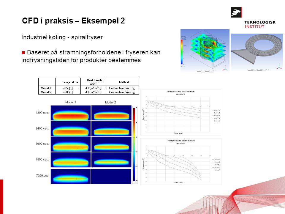 CFD i praksis – Eksempel 2 Industriel køling - spiralfryser n Baseret på strømningsforholdene i fryseren kan indfrysningstiden for produkter bestemmes