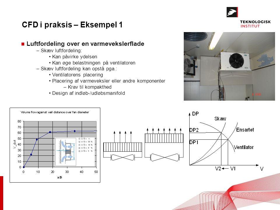 CFD i praksis – Eksempel 1 n Luftfordeling over en varmevekslerflade – Skæv luftfordeling: Kan påvirke ydelsen Kan øge belastningen på ventilatoren – Skæv luftfordeling kan opstå pga.: Ventilatorens placering Placering af varmeveksler eller andre komponenter – Krav til kompakthed Design af indløb-/udløbsmanifold