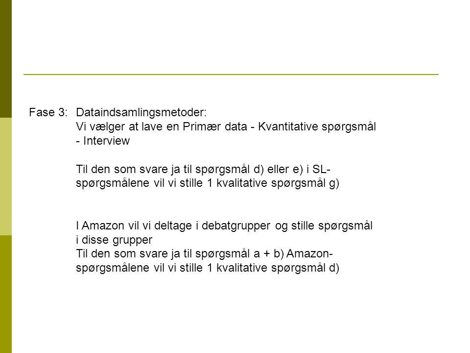 Fase 3: Dataindsamlingsmetoder: Vi vælger at lave en Primær data - Kvantitative spørgsmål - Interview Til den som svare ja til spørgsmål d) eller e) i SL- spørgsmålene vil vi stille 1 kvalitative spørgsmål g) I Amazon vil vi deltage i debatgrupper og stille spørgsmål i disse grupper Til den som svare ja til spørgsmål a + b) Amazon- spørgsmålene vil vi stille 1 kvalitative spørgsmål d)