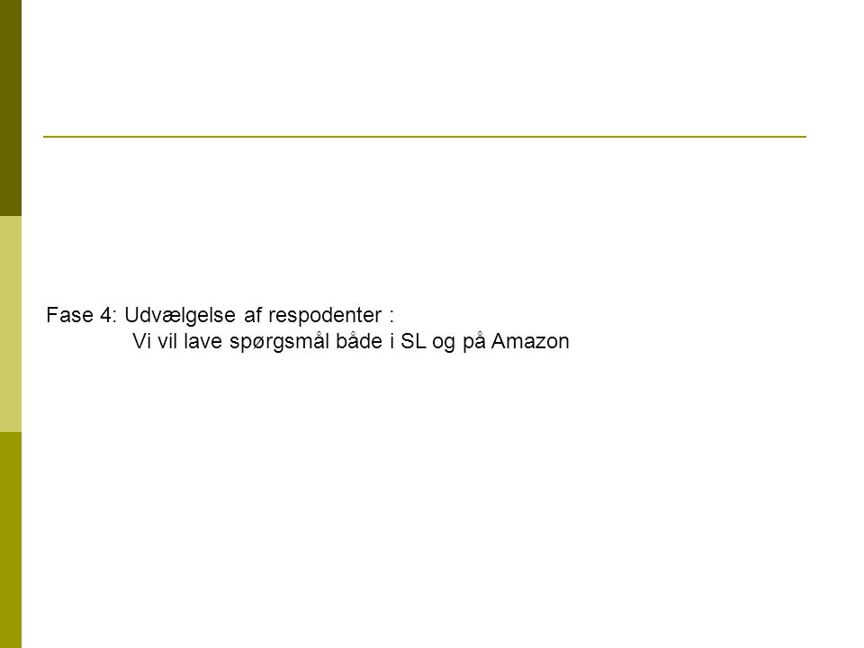 Fase 4: Udvælgelse af respodenter : Vi vil lave spørgsmål både i SL og på Amazon