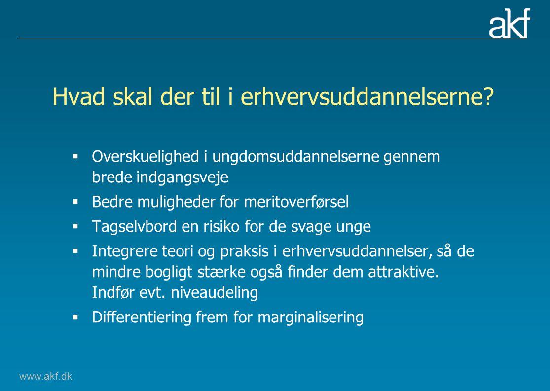 www.akf.dk Hvad skal der til i erhvervsuddannelserne.