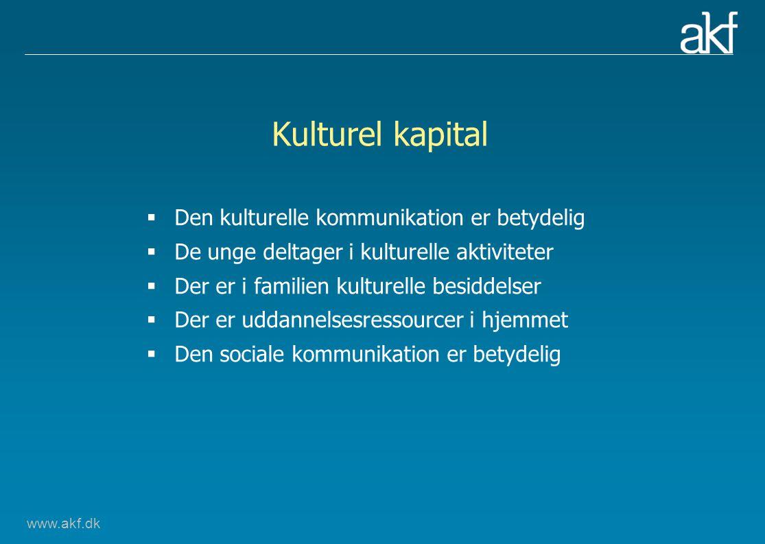 www.akf.dk Kulturel kapital  Den kulturelle kommunikation er betydelig  De unge deltager i kulturelle aktiviteter  Der er i familien kulturelle besiddelser  Der er uddannelsesressourcer i hjemmet  Den sociale kommunikation er betydelig