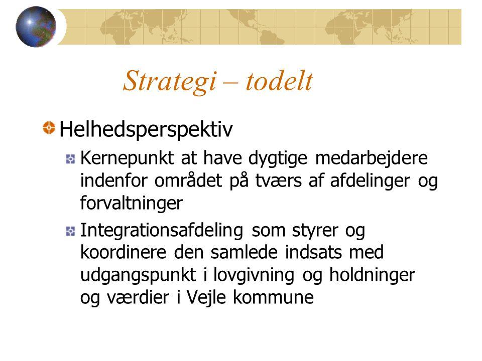 Strategi – todelt Helhedsperspektiv Kernepunkt at have dygtige medarbejdere indenfor området på tværs af afdelinger og forvaltninger Integrationsafdeling som styrer og koordinere den samlede indsats med udgangspunkt i lovgivning og holdninger og værdier i Vejle kommune