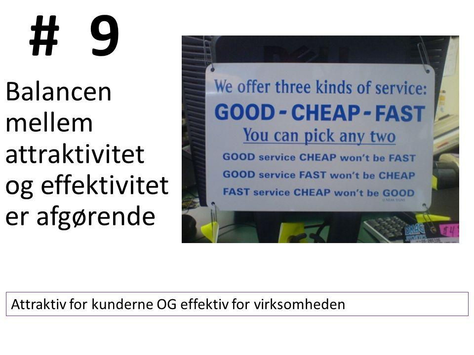 # 9 Balancen mellem attraktivitet og effektivitet er afgørende Attraktiv for kunderne OG effektiv for virksomheden