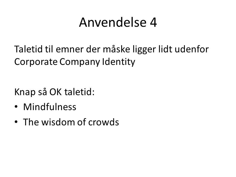 Anvendelse 4 Taletid til emner der måske ligger lidt udenfor Corporate Company Identity Knap så OK taletid: Mindfulness The wisdom of crowds