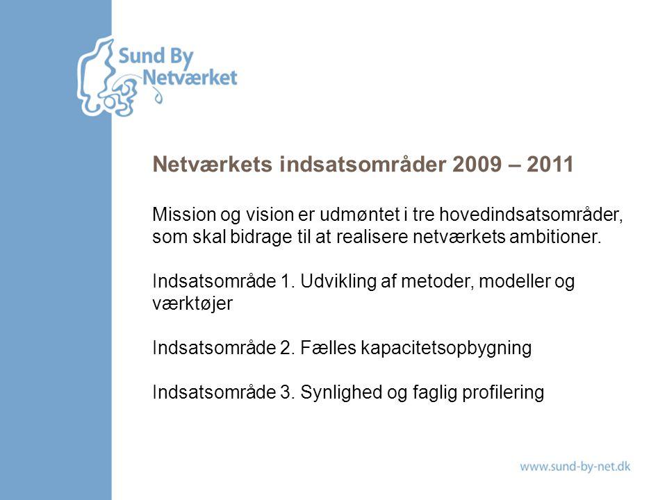 Netværkets indsatsområder 2009 – 2011 Mission og vision er udmøntet i tre hovedindsatsområder, som skal bidrage til at realisere netværkets ambitioner.